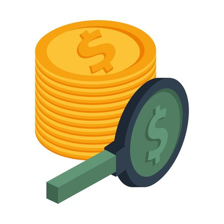 coins dollars money isolated icon vector illustration design