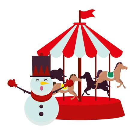 christmas snowman character with carousel vector illustration design Иллюстрация
