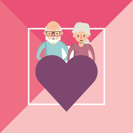 cute grandparents couple lovers with heart vector illustration design Foto de archivo - 134670292