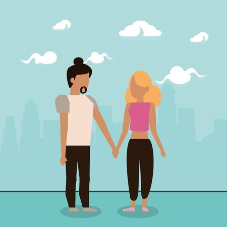 cute lovers couple characters with clouds vector illustration design Illustration