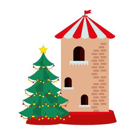 christmas pine tree with castle tower vector illustration design Archivio Fotografico - 134692789