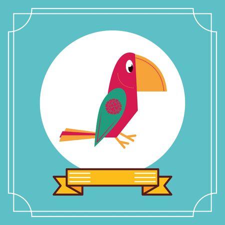 cute parrot mexican culture icon vector illustration design Ilustrace