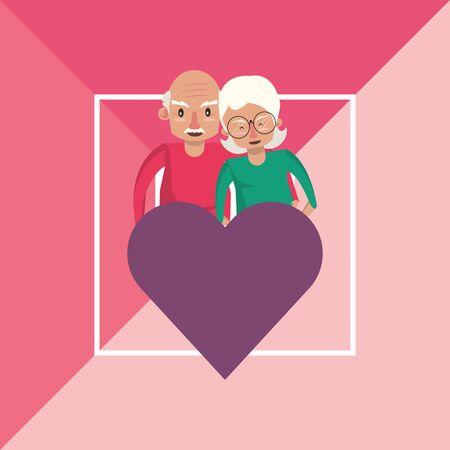 cute grandparents couple lovers with heart vector illustration design Foto de archivo - 134670364