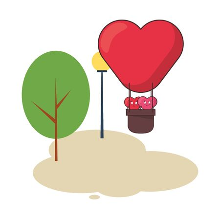 hearts lovers couple in balloon air hot characters vector illustration design Ilustracja