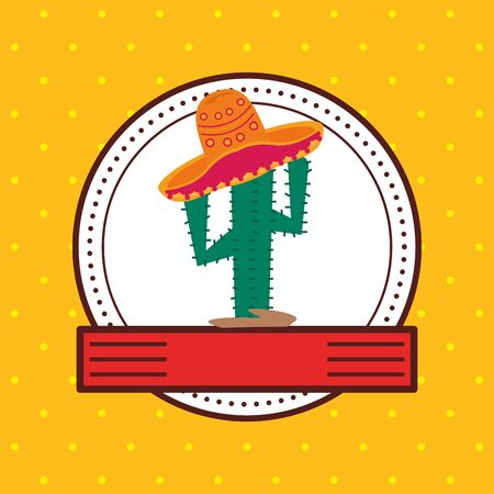 cactus plant with hat mexican culture icon vector illustration design