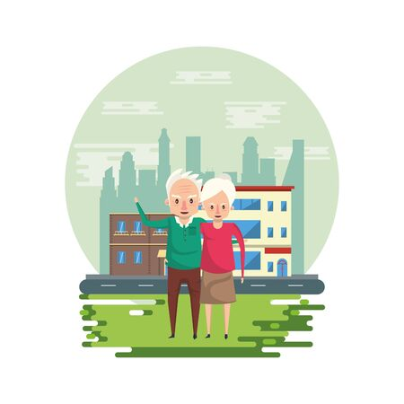 cute grandparents couple lovers in the park vector illustration design Foto de archivo - 134692793