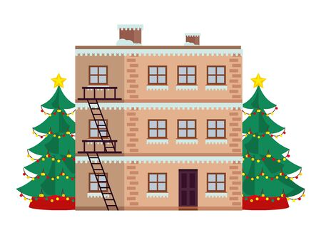 building and christmas tree with snow winter season vector illustration design Banque d'images - 134793835