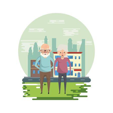 cute grandparents couple lovers in the park vector illustration design Foto de archivo - 134692794