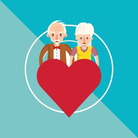 cute grandparents couple lovers with heart vector illustration design Foto de archivo - 134674646