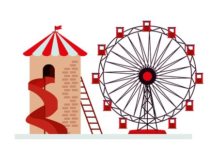 panoramic wheel and slide attractions vector illustration design