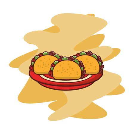 delicious tacos mexican food icon vector illustration design