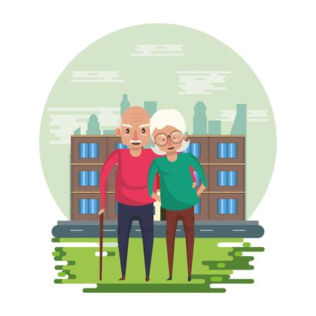 cute grandparents couple lovers in the park vector illustration design