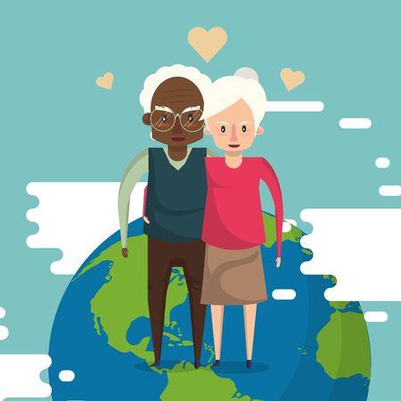 interracial grandparents couple lovers with world planet vector illustration Foto de archivo - 134676061
