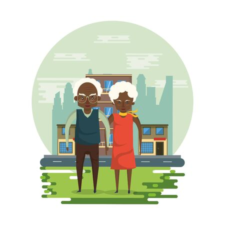 afro grandparents couple lovers in the park vector illustration design Foto de archivo - 134677685