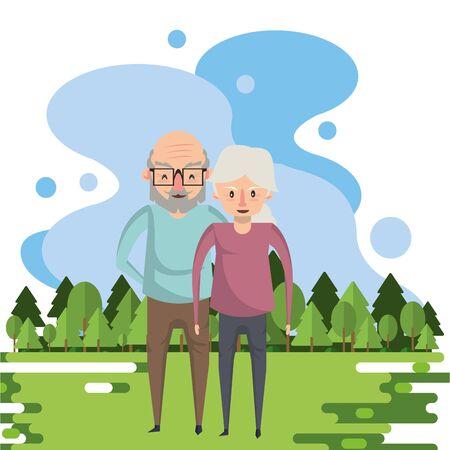 cute grandparents couple lovers in the field vector illustration design Foto de archivo - 134684866