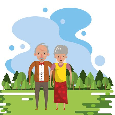 cute grandparents couple lovers in the field vector illustration design Иллюстрация