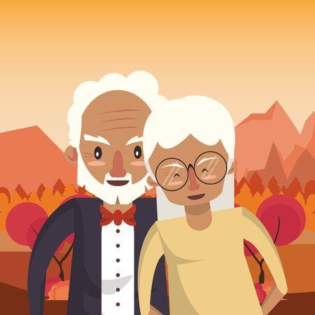 cute grandparents couple lovers in the sunset landscape vector illustration Foto de archivo - 134681309