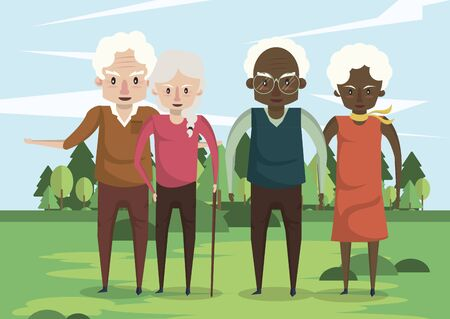 group of interracial grandparents couples in the field vector illustration design Foto de archivo - 134681310