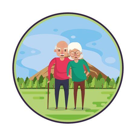 cute grandparents couple lovers in the field vector illustration design Foto de archivo - 134705026