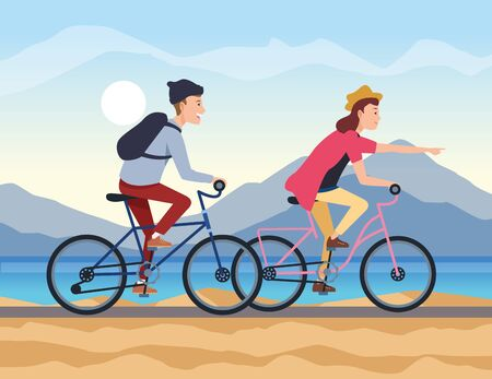 Boys riding bikes design, transportation drive travel traffic speed road and theme Vector illustration