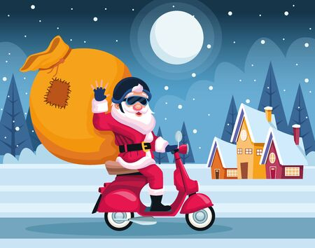merry christmas card with santa claus in motorcycle vector illustration design Banque d'images - 134690214