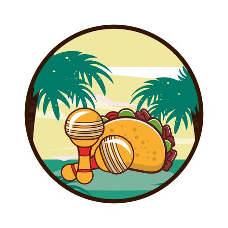 delicious taco mexican food with maracas vector illustration design 일러스트