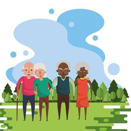 group of interracial grandparents couples in the field vector illustration design Foto de archivo - 134690223