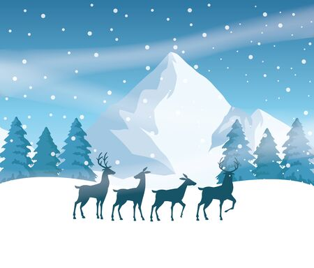 forest snowscape scene with reindeer silhouettes vector illustration design