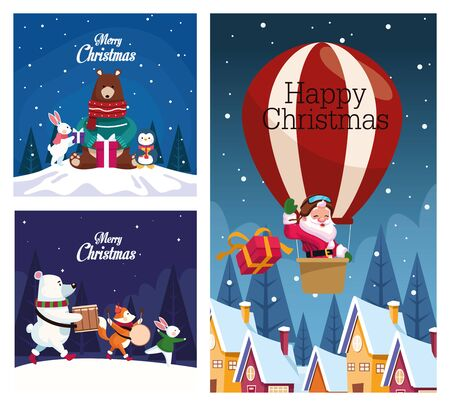 bundle of merry christmas cards vector illustration design 일러스트