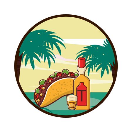 delicious taco mexican food with tequila bottle vector illustration design