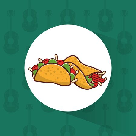 delicious taco and burrito mexican food icon vector illustration design