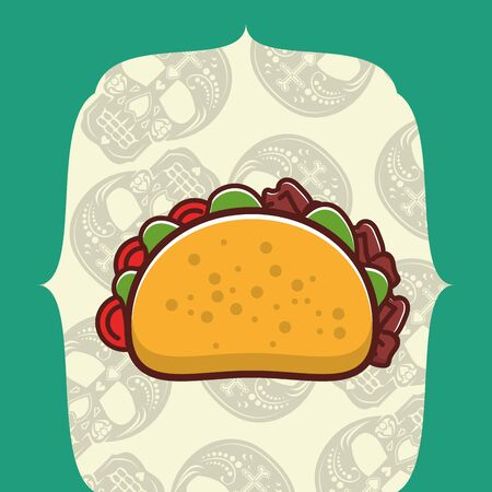 delicious taco mexican food with skulls heads pattern vector illustration design 일러스트