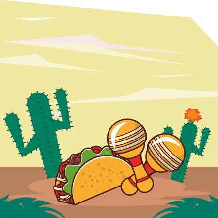 delicious taco mexican food with cactus plants vector illustration design 일러스트