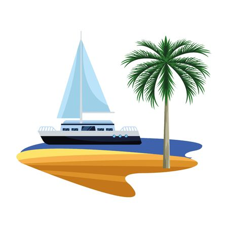 cruise boat at sea and palms over white background, vector illustration