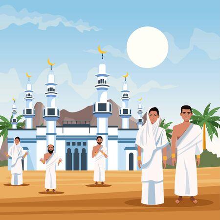 muslims persons   travel celebration vector illustration design