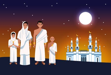 hajj mabrur celebration with muslims and mosque vector illustration design