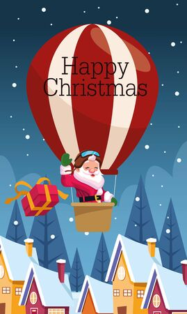 merry christmas card with santa claus in balloon air hot vector illustration design