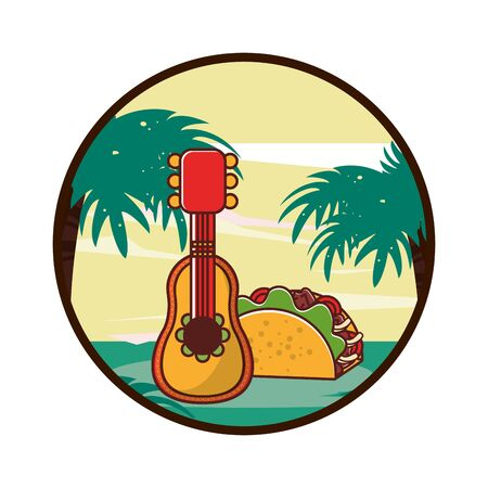 delicious taco mexican food with guitar vector illustration design 일러스트
