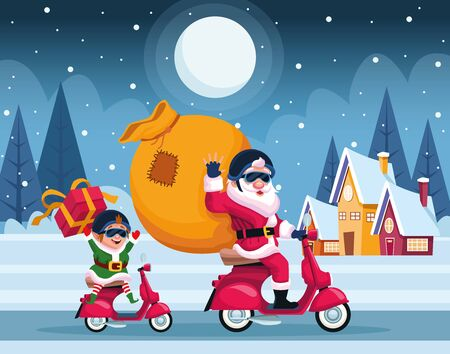 merry christmas card with santa claus and elf in motorcycle vector illustration design Banque d'images - 134690681