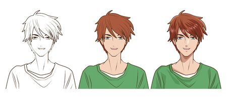 drawing process of young man anime style character vector illustration design  イラスト・ベクター素材