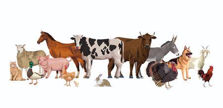 group of animals farm characters vector illustration design Ilustração