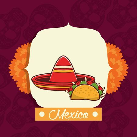 delicious taco mexican food with flowers decoration vector illustration design