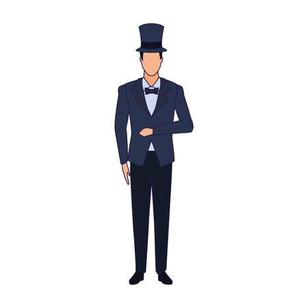 elegant man with top hat icon over white background, vector illustration