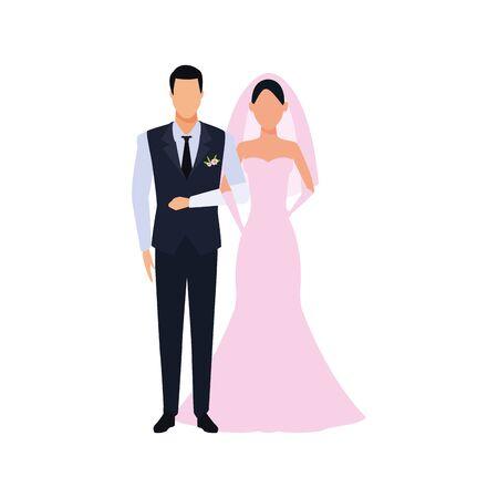 avatar married couple icon over white background, vector illustration Illusztráció