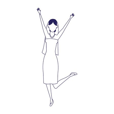 avatar excited bride icon over white background, vector illustration