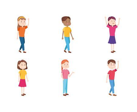 cartoon teenagers icon set over white background, vector illustration Illusztráció