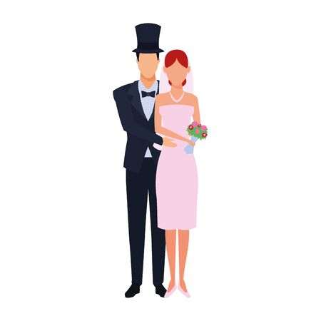 avatar groom hugging a bride icon over white background, vector illustration