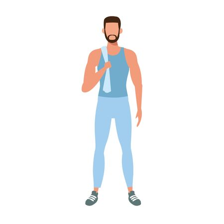 avatar man standing with sports clothes icon over white background, vector illustration Ilustracja