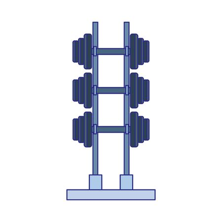 rack with gym dumbbells icon over white background, vector illustration Standard-Bild - 134693801