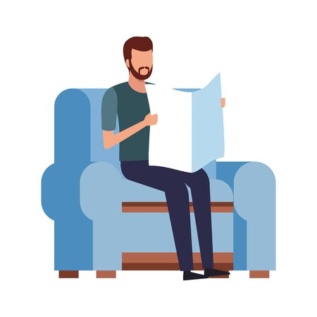 man reading a newspaper sitting on couch icon over white background, vector illustration Ilustrace
